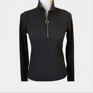 Ginger G Charcoal Ribbed Knit Pullover